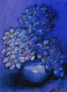 Blue hydrangea painting