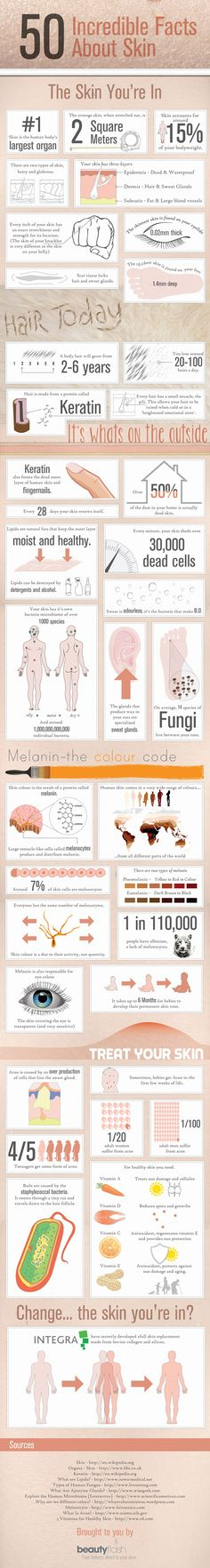 50 Incredible Facts About Skin #skintelligent #skinfo #infographic