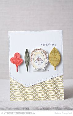 Happy Hedgehogs Stamp Set and Die-namics, Geometric Greenery Stamp Set and Die-namics, Lined Up Dots background, Stitched Scallop Basic Edges Die-namics - Keisha Campbell #mftstamps