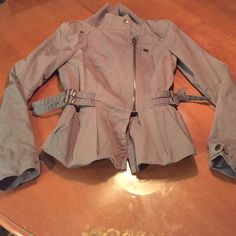Armani Exchange Gray Moto Jacket Beautiful!! Moto jacket from A|X. Excellent condition. Pair with skinny jeans, scarf and booties and you're set! Armani Exchange Jackets & Coats