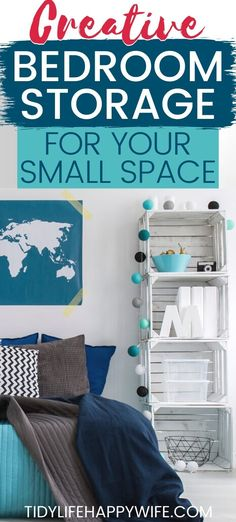 Need more storage in your small bedroom? Here are 67 of the best bedroom storage hacks around. Tons of organization ideas you can DIY or buy to help create more storage for your clothes and other bedroom essentials. Hacks for organizing and storing toys, and what kind of cabinets, shelves, benches, bins, and furniture will help with your storage needs. Tips for using every hidden spot available. #organize #storage #storageideas #organizing #storagesolutions #TLHW Diy Storage Ideas For Small Bedrooms, Small Bedroom Organization, Small Bedroom Storage, Small Space Bedroom, Small Space Storage, Organization Ideas, Extra Storage, Diy Storage For Small Apartments, Organization For Clothes
