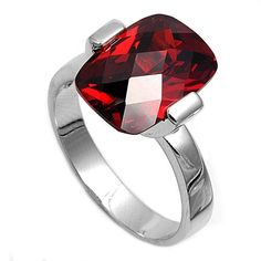 925 Sterling Silver 1.74 Carat Emerald Cut Deep Red Garnet Wedding Engagement Ring Red Love Gift