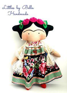 Mexican doll small dolls fiesta happy dolls mexican unique portraits doll littles by Bella doll Diego Rivera art folk Frida Kahlo doll Tilda toy children Frida Kahlo by littlesbyBella Tilda Toy, Soft Dolls, Toy Boxes, Fabric Dolls, Softies, Handmade Toys, Doll Patterns, Beautiful Dolls, Doll Toys