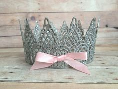 Newborn Baby Lace Crown Tiara Photo Prop - Pink, Blue or White by Miss Mayas Bowtique