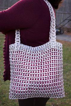 Borsa scheda Pop brillante argento Upcycled Crochet
