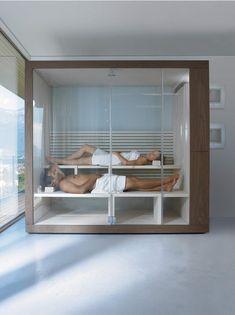 Duravit Inipi Home Sauna system. Room for two or three people in a luxurious and beautiful Duravit home sauna. Saunas, Diy Sauna, Sauna Steam Room, Sauna Room, Bathroom Furniture Design, Bathroom Interior, Design Sauna, Jacuzzi, Sauna Hammam