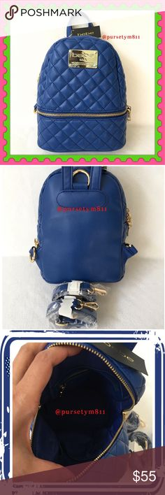 """Authentic Bebe Quilted Mini Backpack AUTHENTIC  Very pretty very cute quilted mini backpack from Bebe Approximate measurements: 9"""" x 7.5"""" x 4"""" Color: Blue. New w/ tag. NO TRADE ❌ bebe Bags Backpacks"""