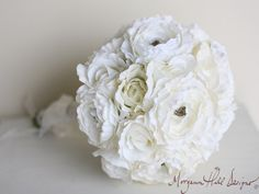 Silk Bride Bouquet White Cream Wedding Decor Shabby Chic Vintage Inspired (Item Number 140101)