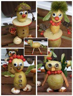 Autumn Crafts, Autumn Art, Nature Crafts, Vegetable Crafts, Vegetable Animals, Diy For Kids, Crafts For Kids, Diy And Crafts, Arts And Crafts