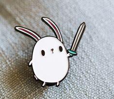 Explore Bunny Enamel Pin by CuddlesAndRage on Etsy
