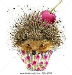 Hedgehog and dessert with cherry T-shirt graphics,. illustration watercolor  Hedgehog and dessert fashion print, poster for textiles, fashion design