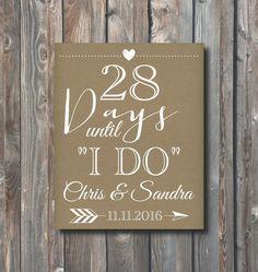 Printable Wedding Countdown Sign-Days Until I Do-Days Until Wedding-Bridal Shower Sign-Personalized Wedding Countdown Sign-Rustic Kraft-WD4