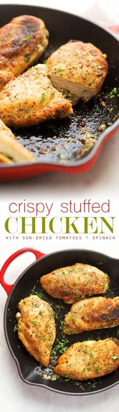 Sun-Dried Tomato and Spinach Stuffed Chicken Breasts - a simple yet elegant recipe for stuffed chicken breasts. Crispy on the outside and cheesy on the inside! #chicken #stuffedchicken #chickenrecipes | Littlespicejar.com