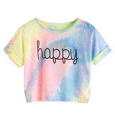 online shopping for SweatyRocks Women's Tie Dye Letter Print Crop Top T Shirt from top store. See new offer for SweatyRocks Women's Tie Dye Letter Print Crop Top T Shirt Tie Dye Tops, Tie Dye Crop Top, Crop Top Und Shorts, Crop Shirt, Cropped Tops, Crop Top Et Short, Tie Die Shirts, Tie Dye Rainbow, Rainbow Pastel