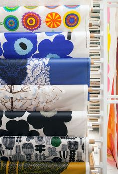 Marimekko coated fabrics for super awesome tablecloths via The Design Files (photo by Phu Tang).