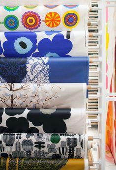 Marimekko coated fabrics for super awesome tablecloths via The Design Files (photo by Phu Tang).