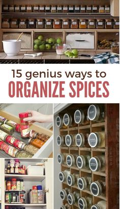 shelf lined with matching spice jars in a row Kitchen Organization Pantry, Spice Organization, Kitchen Storage, Organized Kitchen, Kitchen Drawers, Organizing Tips, Bathroom Organization, Kitchen Cabinets, Diy Kitchen