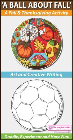 Download this fun Fall and Thanksgiving printable activity pack for children. Ideal for teachers to use as an easy creative art and writing lesson plan in the classroom. Create a Fall themed 'art ball' including leaves, apples, pumpkins, acorns, toadstools, trees.