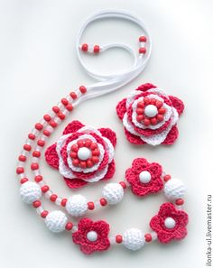 """Купить Украшения для девочки """"Аленький цветочек"""": бусы и резиночки для волос - коралловый, цветочные бусы"""