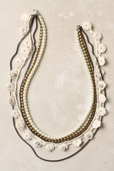 crochet edge, rhinestone, and bead strand necklace