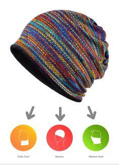 AETRENDS  Winter Beanies Collar Scarf Women or Men s Hip Hop Hats Warm  with Velvet Inside Z-5008 4415826b57ee