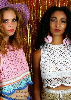 New Design Katie Jones The Flying Fleece Crochet Crop Top, Crochet Blouse, Crochet Bikini, Crochet Tops, Knitwear Fashion, Crochet Fashion, Moda Crochet, Knit Crochet, Crochet Clothes