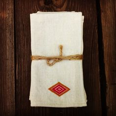 Turmeric Diamond Napkins, set of 4. Coming soon to our online shop.