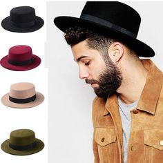 700aeecf5d0d88 New Fashion Wool Pork Pie Boater Flat Top Hat For Women's Men's Felt Wide  Brim Fedora Gambler Hat