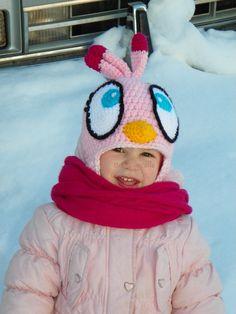 Angry Birds pink bird crochet hat