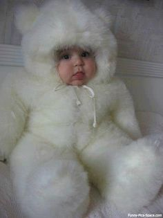 Warm and snuggly in my fluffy white bear suit!!  I can't move mommy!    So cute !       # baby babies ;#