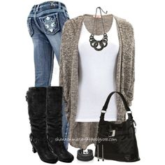 """Marled Cardigan"" by shannonmarie-94 on Polyvore"