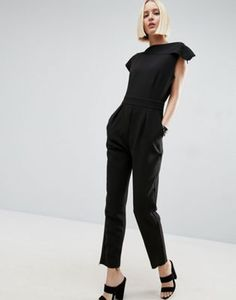 ASOS Tailored Asymmetric Jumpsuit with Raw Detail