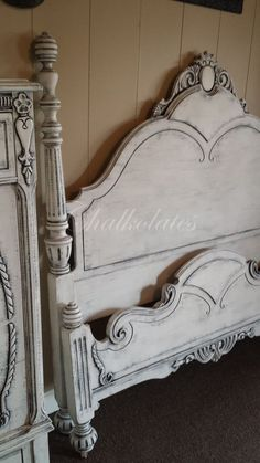 Custom painted bed frame by Chalkolates shabby white from White Vintage Bed FrameWhite Vintage Bed Frame - Purchasing a Living Room Upholstery, Upholstery Cushions, Furniture Upholstery, Paint Furniture, Furniture Projects, Furniture Makeover, Furniture Decor, Upholstery Cleaning, Rustic Furniture