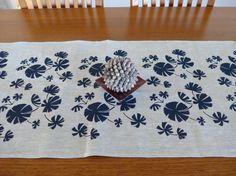 Linen Table Runner Hand Screen Printed Australian Fan Palm