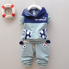 Retail cotton baby set Toddlers children baby boys girls autumn spring 2 pcs clothing set suit cartoon hoodies + pants sets B320