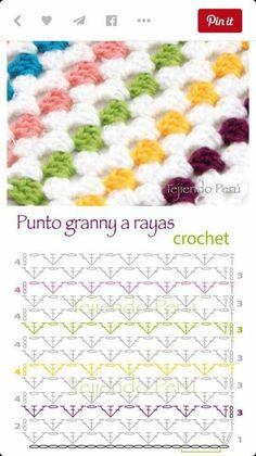 Crochet Stitches Chart, Crochet Motif Patterns, Crochet Symbols, Granny Square Crochet Pattern, Crochet Diagram, Stitch Patterns, Knitting Patterns, Knit Crochet, Crochet Home