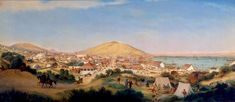 San Francisco in July 1849 by George Henry Burgess. From Oakland Museum collection. Oakland Museum, George Henry, Book Background, Gold Rush, Museum Collection, California, Oil On Canvas, Paris Skyline, San Francisco
