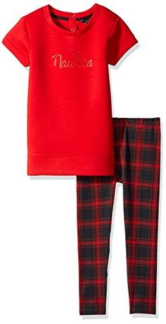 Nautica Little Girls Toddler Knit Top and Plaid Legging Set Red 2T -- Want additional info? Click on the image.