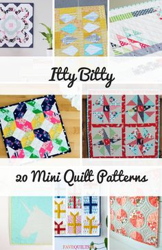 Itty Bitty: 20 Mini Quilt Patterns - Seams And Scissors Easy Hand Quilting, Easy Quilts, Small Quilts, Mini Quilts, Nancy Zieman, Scrap Fabric Projects, Quilting Projects, Quilting 101, Dollhouse Quilt