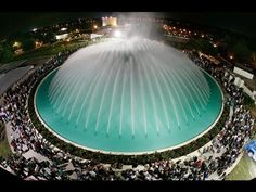 The Water Dome fountain on the Florida Southern College campus, designed by architect Frank Lloyd Wright. I was there that night! Frank Lloyd Wright, Garden Fountains, Water Fountains, Outdoor Fountains, Garden Ponds, Koi Ponds, Garden Water, Florida Southern College, Buckingham Fountain