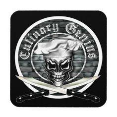 Chef Coasters: Culinary Genius Chef Skull