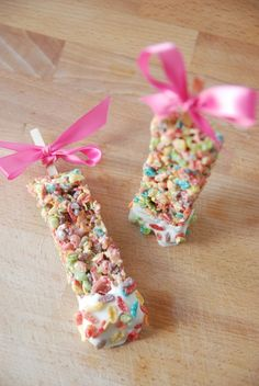 Fruity Pebble Rice Krispie treats!  Cute Easter treat or for a party!