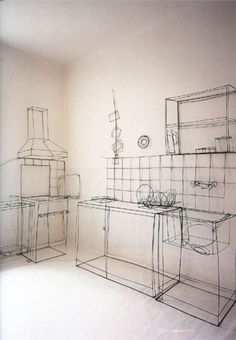 Fritz Panzer. life size three-dimensional drawing of a kitchen made from steel wire