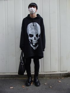 Badass sweater || black hair || all black || face mask