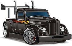"24"""" Hot Rod Truck #2 BLACK custom car Wall Sticker Kids Art Decal color Graphic"