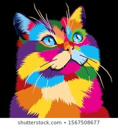 Colorful Animal Paintings, Colorful Animals, Arte Pop, Tableau Pop Art, Lion Painting, Illustration Art Drawing, Custom Dog Portraits, Cool Art Drawings, Cat Drawing