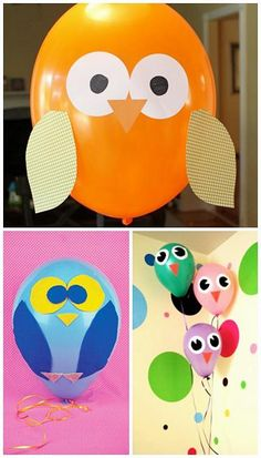 Owl balloons funny idea for kids parties.maybe do this with the balloons Kids Crafts, Owl Crafts, Owl Parties, Owl Birthday Parties, Balloon Crafts, Balloon Decorations, Balloon Ideas, Owl Balloons, Bird Party