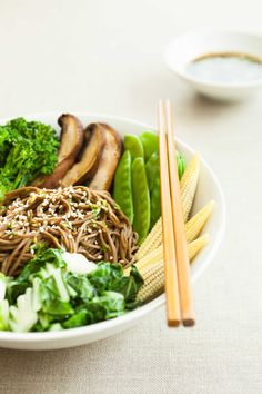 Cold Soba Noodle Bowl with Ginger Chili Sauce