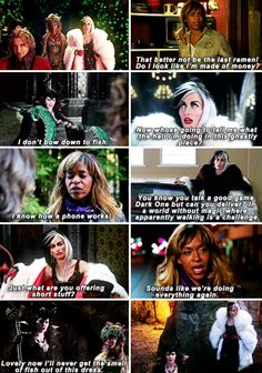 [gifset] #4x13 #DarknessOnTheEdgeOfTown #QueensOfDarkness (funny lines and looks)