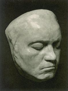 Death mask of Ludwig Van Beethoven, a genius. His life was so difficult and probably suffered from bipolar disorder. His death from pleurisy was long and painful. Never would he realize his impact on the modern world.